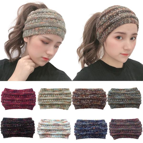 8 cores CC de malha larga Headband Mulheres Winter Sports Hairband Turban Headwrap Ear Warmer Crochet Gorro Cap Headbands com letra cc