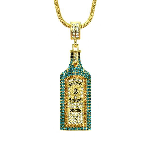 Big Wine bottle Necklaces Full Rhinestone Iced Out Pendants Hip Hop Men Women Gold Color Vogue Jewelry For Rocker