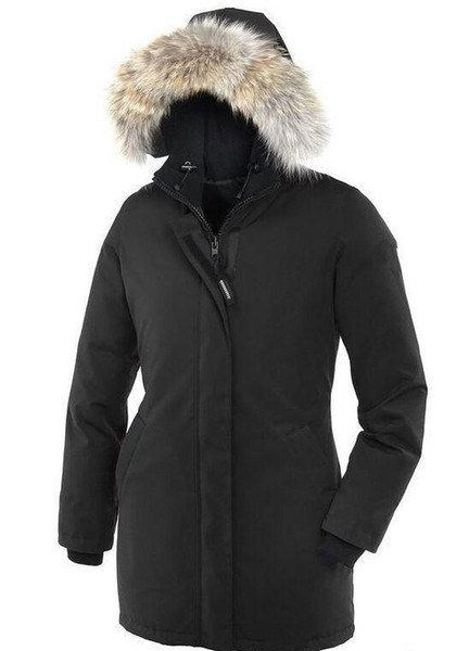 Marca para mujer Victoria Down Parka Chaqueta Moda para mujer Cuello de piel de mapache con capucha Abajo Abrigos Lady Goose Down Jacket DHL envío gratuito