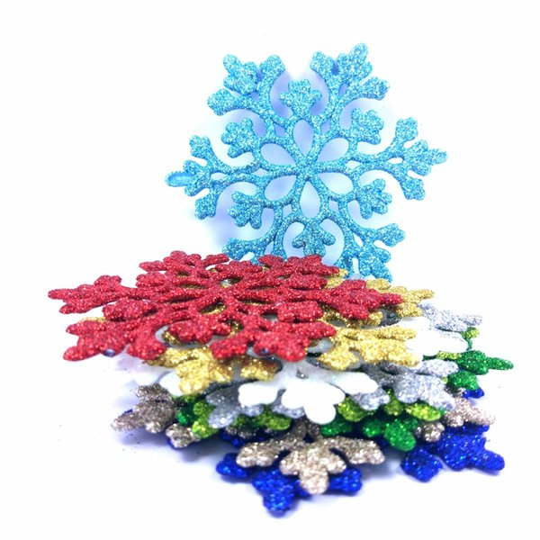 24pcs 8.5cm Snowflakes Christmas Plastic Glitter Snow Flake Ornaments Wedding and Party Decoration Tree Pendant for Home