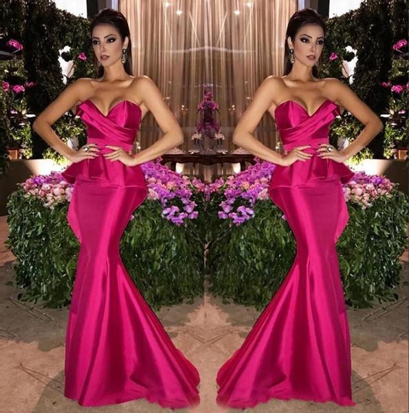 Vestidos de noche largos de sirena satinada fucsia encantadora 2020 Vestidos de fiesta largos de novia árabe con pliegues fruncidos Vestidos de fiesta formales