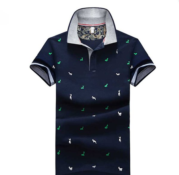 Men Summer Fashion Polo 2019 Designer Mens Casual Solid Color Fashion Polo Shirts Men Brand Print Deer Pattern Polo Men Tops Plus Size M-4XL