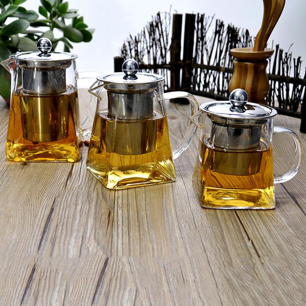 best selling High Quality Heat Resistant Glass Teapot Chinese Kung Fu Tea Set Puer Kettle Coffee Glass Maker Convenient Office Clear Tea Pot