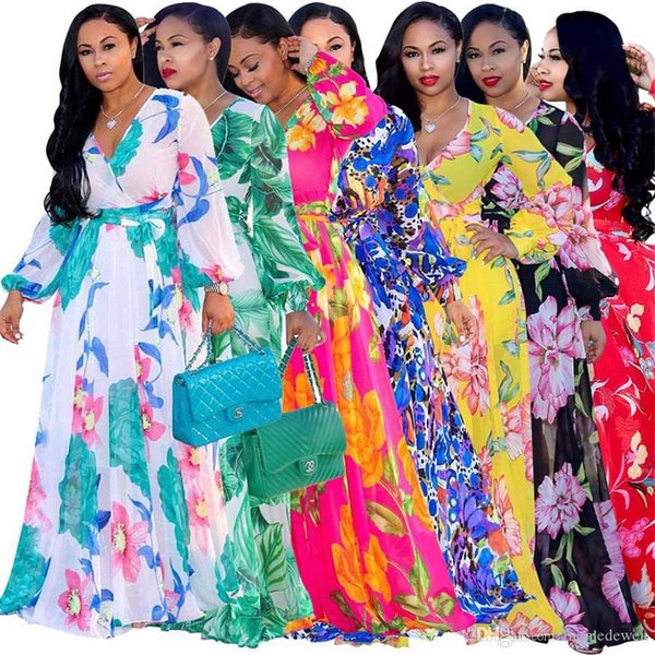 15 Colors 5XL Designer Bohemia Dresses Fashion floral print BOHO Maxi Beach Dress Sexy Deep V Long sleeve casual Chiffon party dress NB-1088