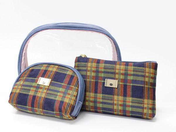 BLYG 2019 3PCS set Women high quality winter vevlet PVC Makeup Bags water proof zipper check pattern Cosmetic bag Storage bag Toiletry Wa