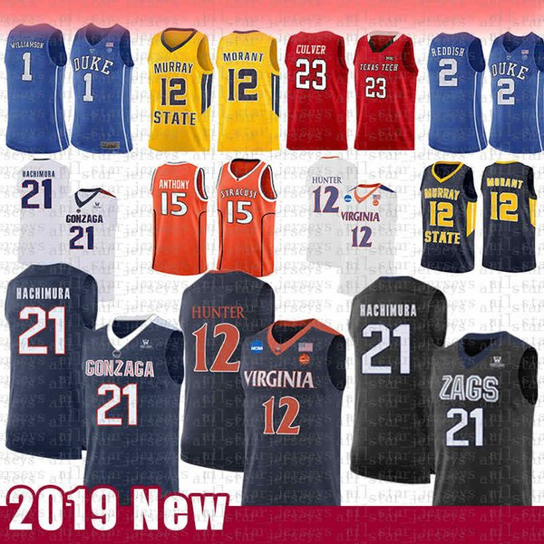 top popular 12 De'Andre Hunter 21 Rui Hachimura NCAA College Basketball Jersey Gonzaga Bulldogs Virginia Cavaliers Carmelo Anthony 15 Syracuse MEN'S 2020
