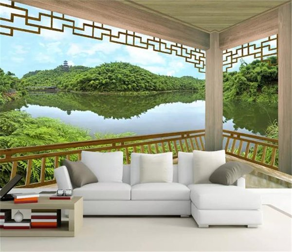 Custom Any Size 3d Wallpaper Chinese Style Pavilion Lake Scenery Landscape Tv Sofa Background Decoration Mural Wallpaper Wallpaper For Pc Wallpaper