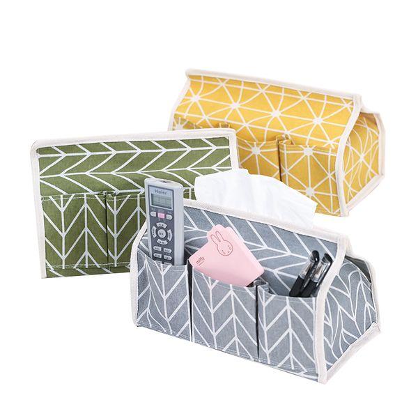 6 Pockets Cotton Tissue Box Multifunctional Desktop Pumping Napkin Paper Holder Waterproof Paper Towle Case Storage