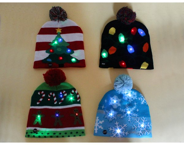 Crochet Christmas Hats Adults.4 Styles Led Light Knitted Christmas Hat Unisex Adults Kids New Year Xmas Luminous Flashing Knitting Crochet Hat Party Favor Cca10262 Christmas Items