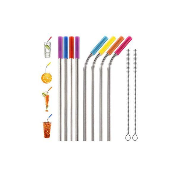 Cannucce riutilizzabili di paglia dell'acciaio inossidabile Bevande del bar della cannuccia del metallo Accessori del partito del vino Stile StraightBent DH0118
