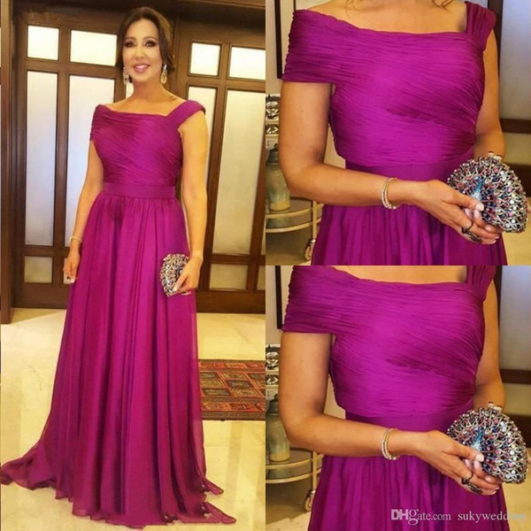 Fuchsia Mother of the Bride Dresses A Line Wedding Party Dresses Pleats Long Chiffon Mother Prom Party Gowns 2019 vestido mae da noiva