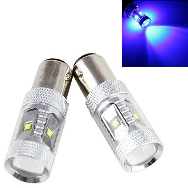 2X 1157 Saf Mavi Yüksek Güç Sis Işık 30W BAY15d P21 / 5W Çip Kuyruk Fren Durdurma Sinyal LED 7528 Ampul çevirin