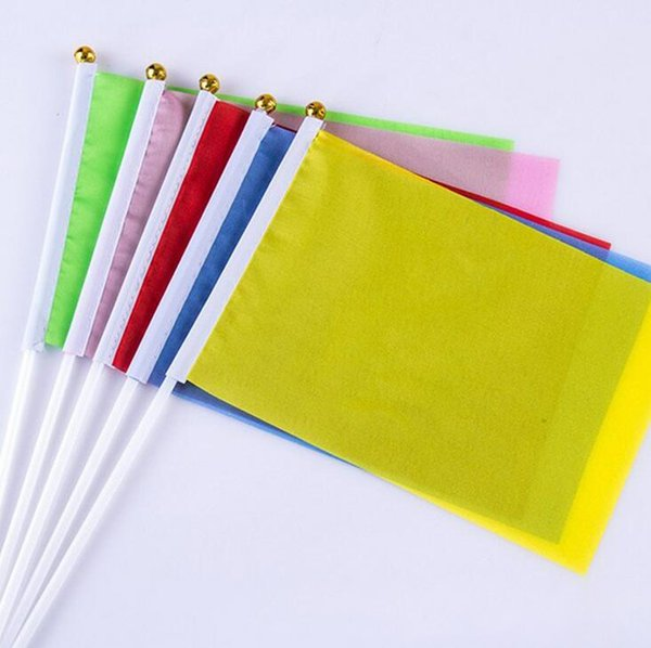 top popular 20*28cm Hand Waving Flag Solid Color Flag Banners for Meeting Party Decoration Flag Banner Party Decoration LJJK1540 2019