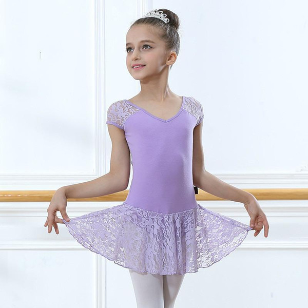 Tank Short Sleeved Spandex Gymnastics Leotard For Girls Lace Mesh Dance Leotard Tutu Skirt Kids Children Ballet Dancewear Dress