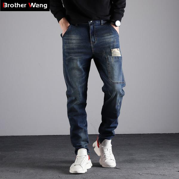 Großhandel Große Größe 40 42 44 46 48 Männer Jeans 2019 Frühjahr Neue Mode Trend Camouflage Stitching Elastische Harlan Hose Männlich Marke Von Cety,