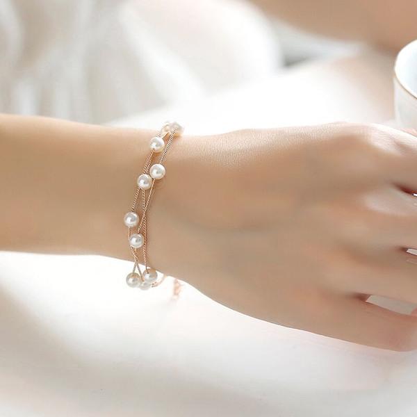 1Pcs Korean Fashion Multi-layer Pearl Bracelet Ladies Bracelet Sweet Fresh Simple Jewelry Girl Decorations Women Jewlry