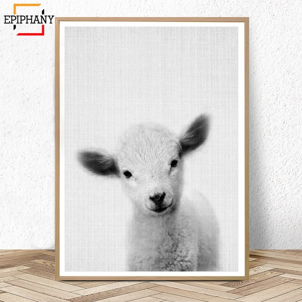 Lamb Print Nursery Farm Animal Wall Art Canvas Painting Baby Sheep Large Poster Black and White Painting Pictures for Kids Room