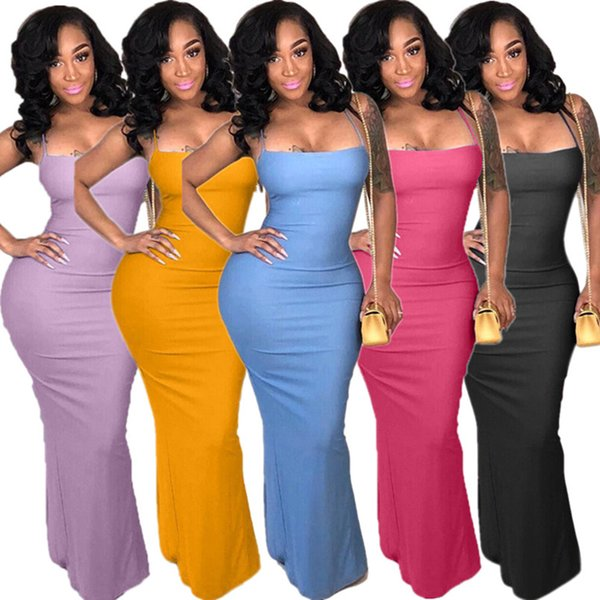 Women Halter Backless Maxi Dress Summer Casual Long Skirts Night Club Sexy Streetwear Strap Criss-Cross Dresses Lady clothes plus size S-3XL