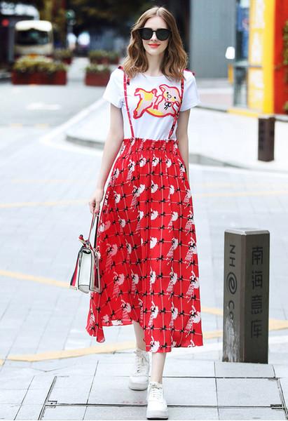 Мультфильм футболка + юбка слинг с коротким рукавом Женщины из двух частей Мода Повседневные женские комплекты Лето Печатные Тройники для вышивания Юбки для чулок