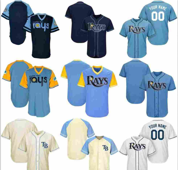 detailed look 4c357 623b1 2019 2019 2020 Custom Mens Womens Youth TampaBayRays Baseball Jersey White  Navy Light Blue Cream Stitched Any Name Any Number Shirts Jerseys From ...