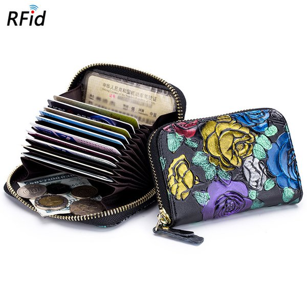 Charm2019 Drawing Coloured Or Pattern Rose Organ Card Woman Doka Position Rfid Genuine Leather Zipper Carroll Package Mini- Zero Purse