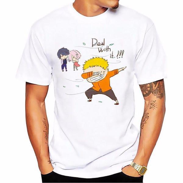 Dabbing Узумаки Наруто футболка мужчины Белый повседневная доступны плюс размер Tee рубашки женщины унисекс мода футболка Бесплатная доставка