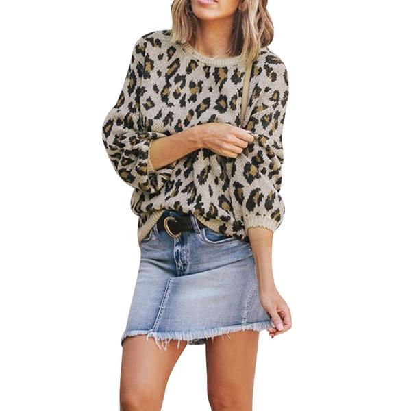 vente pas cher styles classiques variété de dessins et de couleurs 2019 2019 Fashion Leopard Print Women Sweaters And Pullovers Spring Autumn  Long Sleeve Knitting Female Sweater Pull Femme Hiver From Beautyoutfit, ...