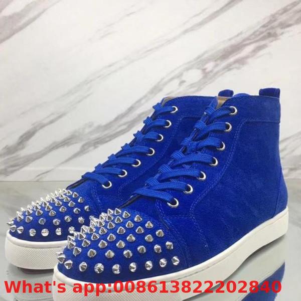 Zapatos de ocio de corte alto Azul Plata Remaches Delantero Rojo Moda Para Hombres Zapatillas de deporte Mocasines de cuero Casual Flat 2018