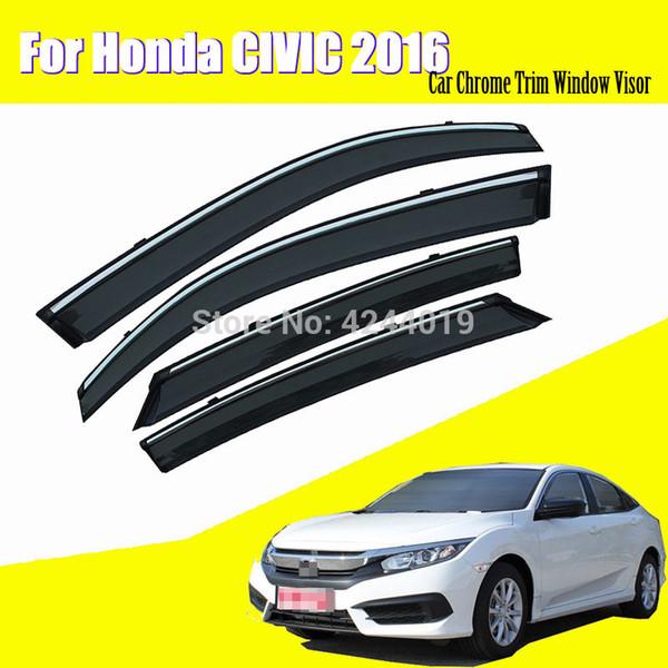 Araba Tenteler Barınakları Pencere Saçakları Güneş Yağmur Kalkan Sticker Kapak Honda Civic 2016 Için Kaplama Krom Trim Oto Aksesuarları