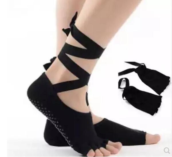Vente chaude-Chaussettes de yoga aériennes cravates antidérapantes avec des chaussettes à cinq doigts, bout ouvert, chaussettes de danse dans le dos, coton quatre saisons, femme