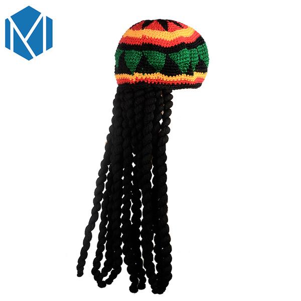 Miya Mona 2019 Neuheit Jamaican Rasta Strickmütze Casual Männer Handarbeit Häkeln Reggae Kappe Perücke Braid Mützen Haarschmuck