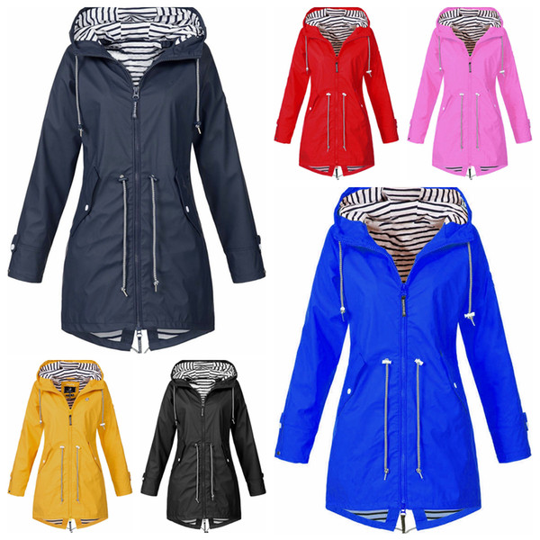 Mujeres chaqueta de rayas 6 colores escalada exterior cálido rompevientos con capucha montañismo con capucha ropa de tormenta ropa deportiva 20 unids OOA6365