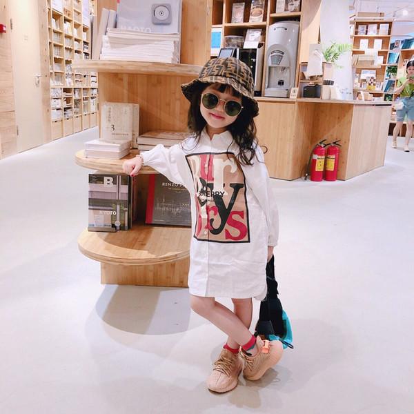 Livraison gratuite Filles Robe 2019 Nouvel été Automne Collège Vents Style Vêtements Filles À Manches Longues Lettre Motif Enfants Enfants Robe
