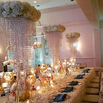acrylic crystal beads wedding table centerpiece with flower holder flower stand for events party and banquet decoration sen1075
