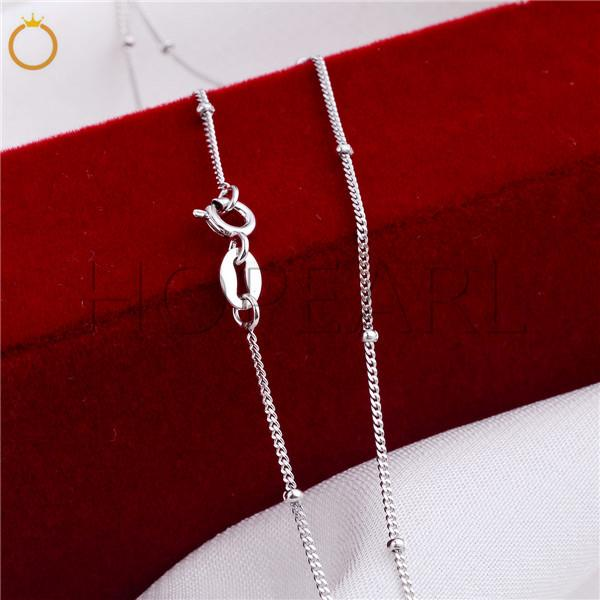 Sterling Silver 925 Curb Link Chain Necklace with Balls 925 Silver Chain 1mm 18inch 5 Pieces
