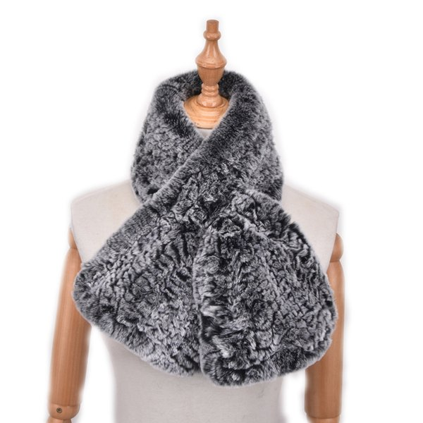 Women Genuine Rex Rabbit Fur Scarves Real Fur Wraps Winter Warm Fashion Mufflers