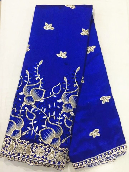 5Yards Beautiful royal blue cotton fabric african George lace fabric with gold sequins for clothes OG4-1