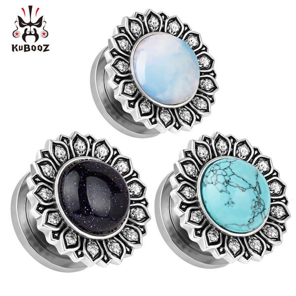 2018 KUBOOZ piercing joyería acero inoxidable logotipo de la piedra calibres tapones y túneles cuerpo joyería mezcla tamaño de lote