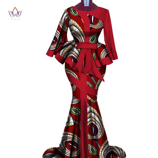 Impressão de Cera africano Two Piece Set 2019 Bazin Riche Elegante Tradicional Africano Vestuário Dashiki Top Colheita e Conjuntos de Saia WY3792