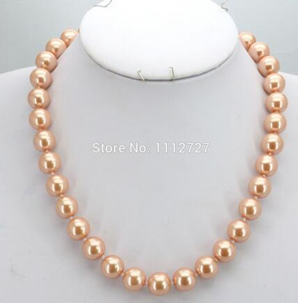 women Fashion Jewelry Accessories Gifts Women Girls 10mm Orange Round Glass Pearl Beads Necklace Jewelry Making Design Wholesale