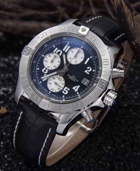 Designer Japanese Quartz Leather Chronograph 1884 Luxury Mens Stainless Steel Watch Sports men's Stopwatch Watches Wristwatches