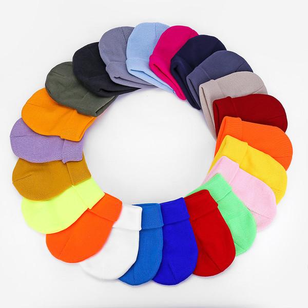 Männer und Frauen Glatte Strickmützen reine Farbe Acrylfasern Wollgarn Mütze Weiche bequem ohne Traufe Hip-Hop-Hut MMA2442