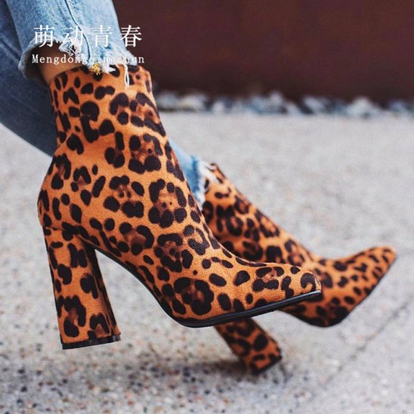 plus size 35-42 women ankle boots pumps chunky heeled pointed toe boats mujer leopard party nightclub winter boots zapatos - from $31.35