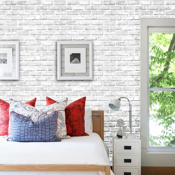 Self Adhesive Waterproof 3D White Brick Pattern Wallpaper Wall Sticker  Living Room TV Background Wallpaper Bedroom Decoration 3D High Definition  ...