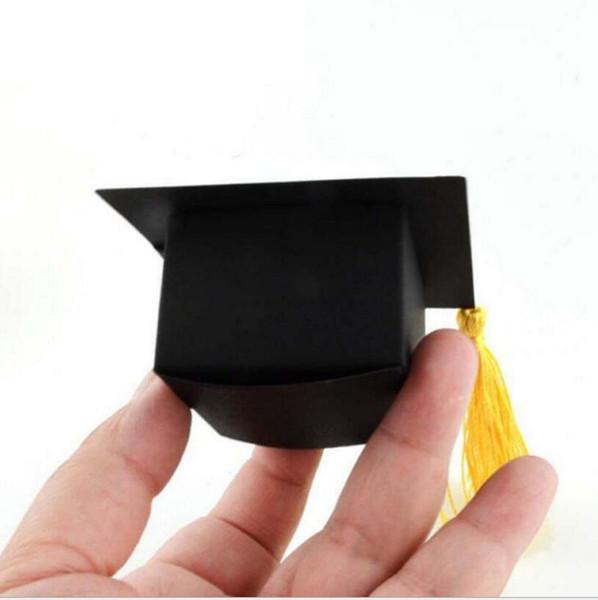 50 pçs / lote Doctor Hat Cap Caixa de Doces Graduação Celebração Do Partido Decoração Doces Favor Boxes Caixa de Embalagem de Presente de Formatura