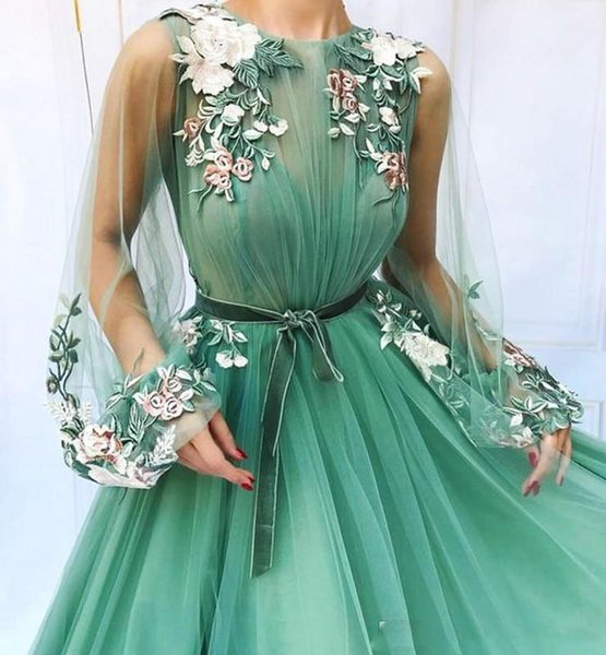 Illusion Long Sleeve Tulle A-Line Mint Green Prom Dresses 2019 Applique Flowers Formal Evening Dress Floor Length Prom Gown