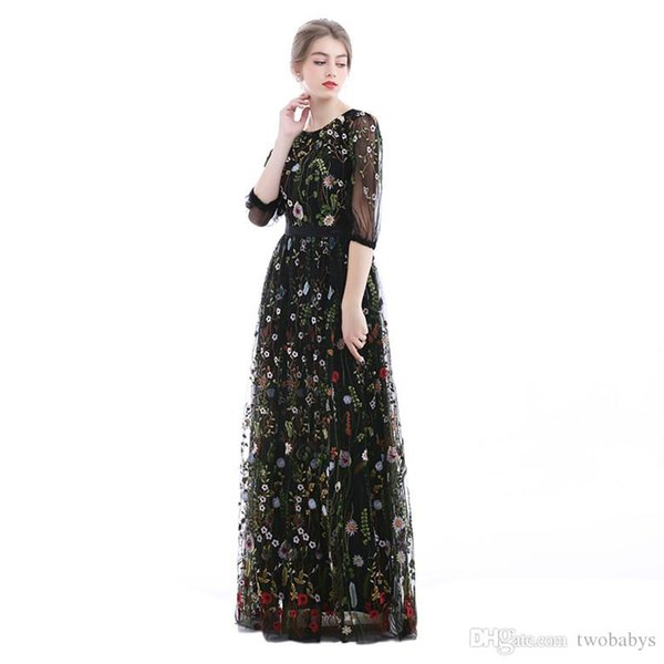 Embroidered Floral 3/4 Sleeves See Through Prom Dress Semi-Formal Evening Gowns.