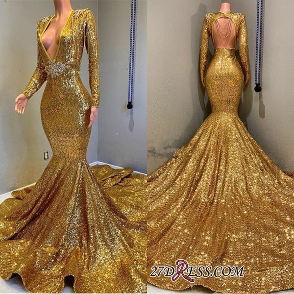 Sparkly Gold Sequin Mermaid Prom Dresses with Long Sleeves Sexy Deep V Neckline Open Back Beaded Formal Evening Gowns Cocktail Party Dress