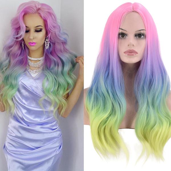 Parrucca arcobaleno ondulate lunghe onda del corpo parrucche glueless sintetica parrucca Ombre Rosa Blu Giallo Colore Cosplay per American donne africane