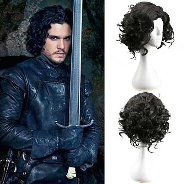 Game of Thrones Jon Snow Cosplay Wig Black Short Curly Fluffy Hair Medieval Knight King Fancy Dress Wig Halloween Accessories